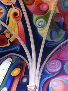 plafond de l'église du Menoux à 9 km des Myosotis, parcours de randonnée